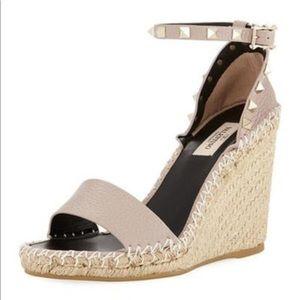 Valentino Rockstud Double Espadrille Sandal Wedges